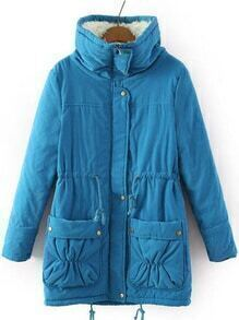Stand Collar Drawstring Pockets Blue Coat