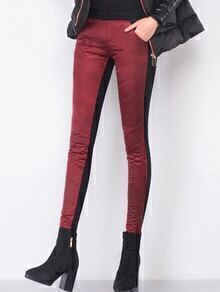 Burgundy High Waist Slim Leg Down Pants