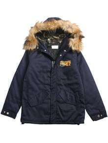 Deep Blue Minion Print Quilted Coat With Patch Sleeve