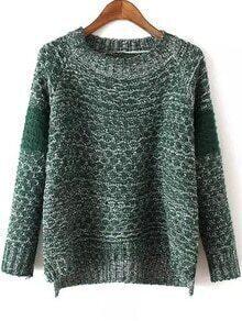 Women Dip Hem Green Sweater