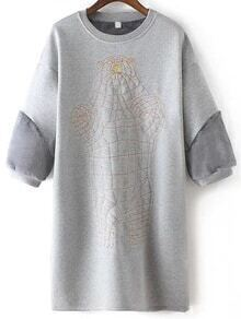 Bear Embroidered Thicken Long Grey Sweatshirt
