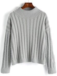 Women Mock Neck Fuzzy Sweater