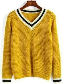 Women V Neck Striped Sweater