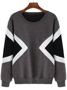 Geometric Print Thicken Grey Sweatshirt