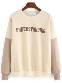 Contrast Sleeve Letter Print Thicken Loose Sweatshirt