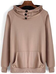Hooded Buttons Pocket Khaki Sweatshirt