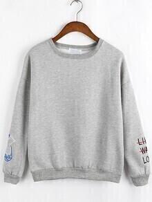 Women Letter Embroidered Grey Sweatshirt