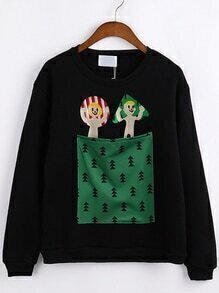 Cartoon Embroidered Patch Pocket Black Sweatshirt