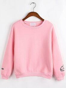 Women Pizza Embroidered Pink Sweatshirt