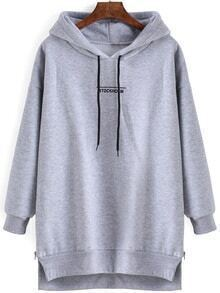 Hooded Drawstring Dip Hem Split Grey Sweatshirt