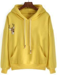 Hooded Drawstring Deer Embroidered Yellow Sweatshirt