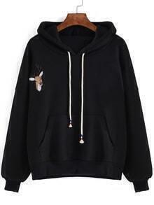 Hooded Drawstring Deer Embroidered Black Sweatshirt