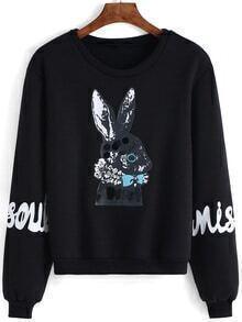 Round Neck Rabbit Print Black Sweatshirt