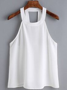 Hollow White Tank Top