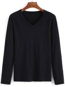 V Neck Long Sleeve Black T-shirt