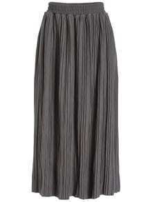 Elastic Waist Pleated Grey Skirt