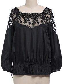 Boat Neck Lace Embroidered Black Top
