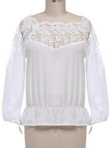 Boat Neck Lace Embroidered White Top
