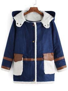 Women Hooded Pockets Blue Coat