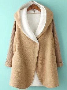 Hooded Covered Button Dolman Apricot Coat