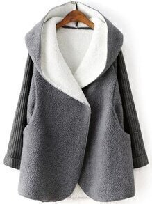 Hooded Covered Button Dolman Grey Coat