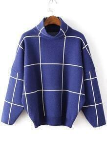 High Neck Plaid Loose Blue Sweater