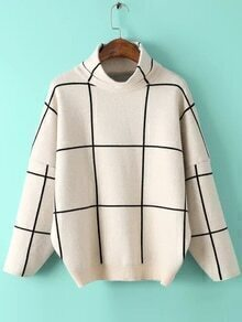 High Neck Plaid Loose Beige Sweater