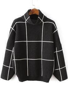 High Neck Plaid Loose Black Sweater