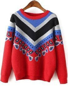 Women Vintage Print Red Sweater