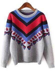 Women Vintage Print Grey Sweater