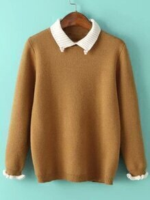 Contrast Lapel Ruffle Khaki Sweater