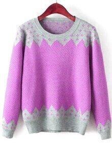 Color-block Printed Loose Sweater