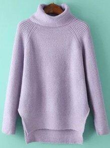 Turtleneck Dip Hem Split Side Purple Sweater