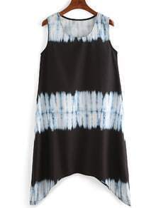 Women Tie-dye Asymmetrical Tshirt Dress