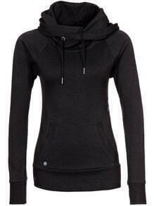 Women Hooded Drawstring Pocket Sweatshirt