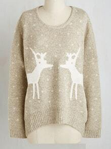 Apricot Round Neck Deer Print Sweater
