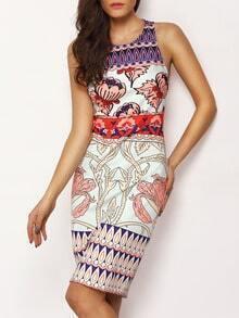 Multicolor Sleeveless Floral Sheath Dress