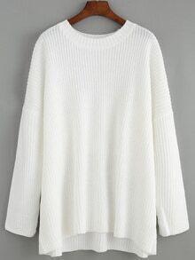 Women Long Sleeve Loose White Sweater