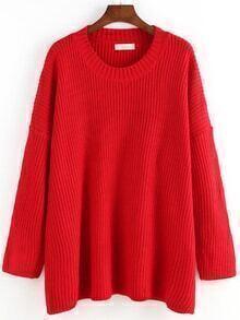Women Long Sleeve Loose Red Sweater
