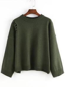Women Ripped Loose Green Sweater
