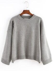 Women Ripped Loose Grey Sweater
