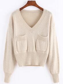 V Neck Pockets Apricot Sweater