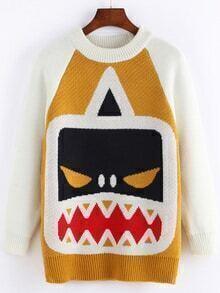 Raglan Sleeve Monster Print Sweater