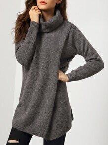 Turtleneck Split Loose Grey Sweater