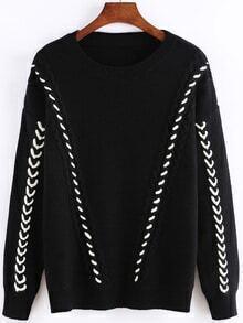 Long Sleeve Ribbon Black Sweater