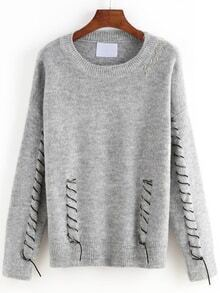 Long Sleeve Embroidered Ribbon Grey Sweater