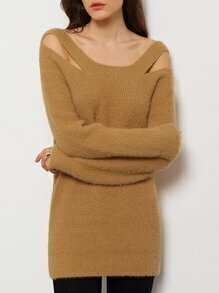 Boat Neck Cut Out Sweater