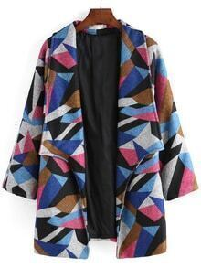 Lapel Geometric Print Long Coat
