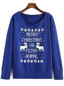 Sweat-shirt barre de Noël imprimée - blue