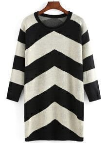 Wommen Striped Casual Sweater Dress